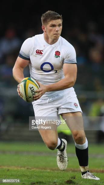Owen Farrell of England runs with the ball during the third test match between South Africa and England at Newlands Stadium on June 23 2018 in Cape...