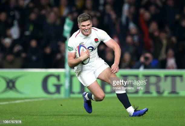 Owen Farrell of England scores their fourth try during the Quilter International match between England and Australia at Twickenham Stadium on...