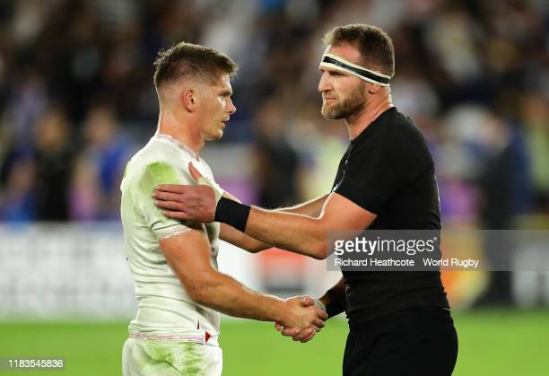 Owen Farrell of England shakes hands with Kieran Read of New Zealand after the Rugby World Cup 2019 SemiFinal match between England and New Zealand...