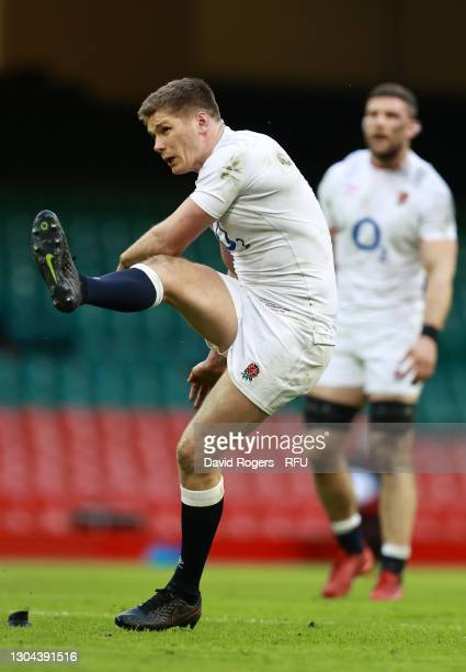 Owen Farrell of England succesfully kicks a penalty during the Guinness Six Nations match between Wales and England at Principality Stadium on...