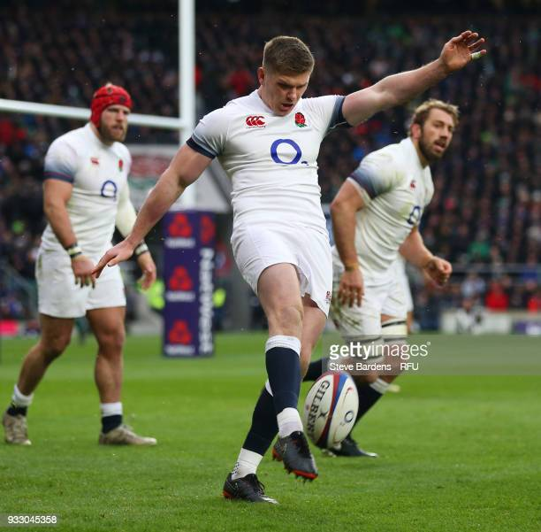 Owen Farrell of England takes a kick during the NatWest Six Nations match between England and Ireland at Twickenham Stadium on March 17 2018 in...