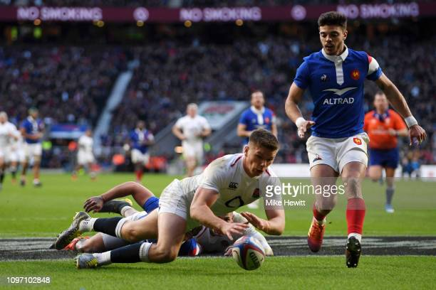 Owen Farrell of England touches down for the fifth England try during the Guinness Six Nations match between England and France at Twickenham Stadium...