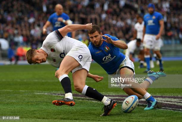 Owen Farrell of England touches downn for the third try during the NatWest Six Nations round One match between Italy and Engalnd at Stadio Olimpico...