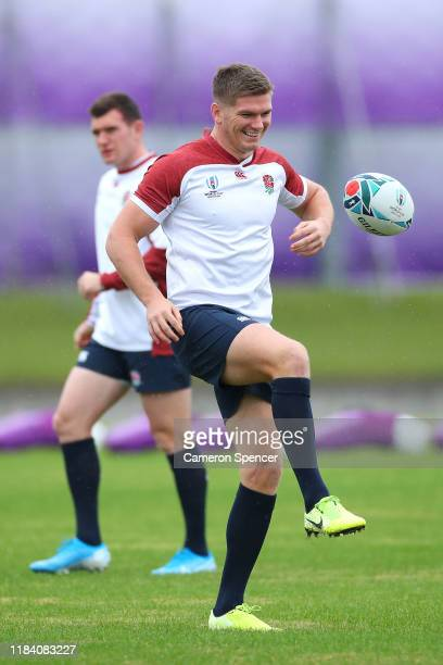 Owen Farrell of England warms up during an England training session at Fuchu Asahi Football Park on October 29, 2019 in Tokyo, Japan.