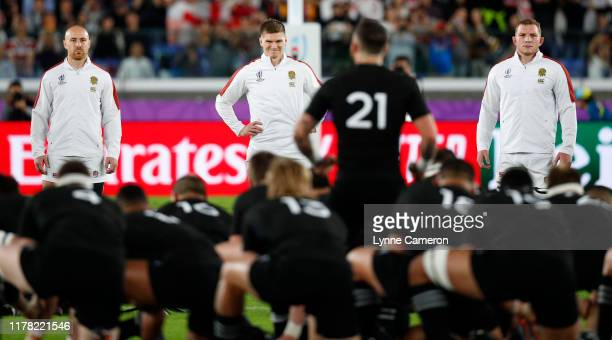 Owen Farrell of England watches the Haka during the Rugby World Cup 2019 SemiFinal match between England and New Zealand at International Stadium...