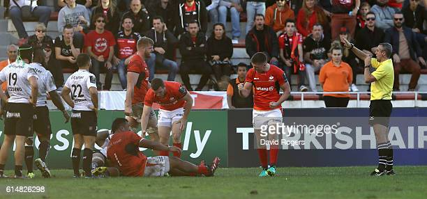 Owen Farrell of Saracens celebrates the final whistle after their victory during the European Rugby Champions Cup match between RC Toulon and...