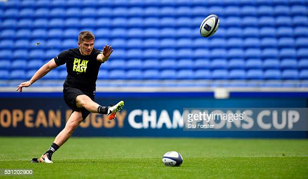 Owen Farrell of Saracens in action during Saracens Captain's Run at Grand Stade de Lyon ahead of the European Rugby Champions Cup Final on May 13,...