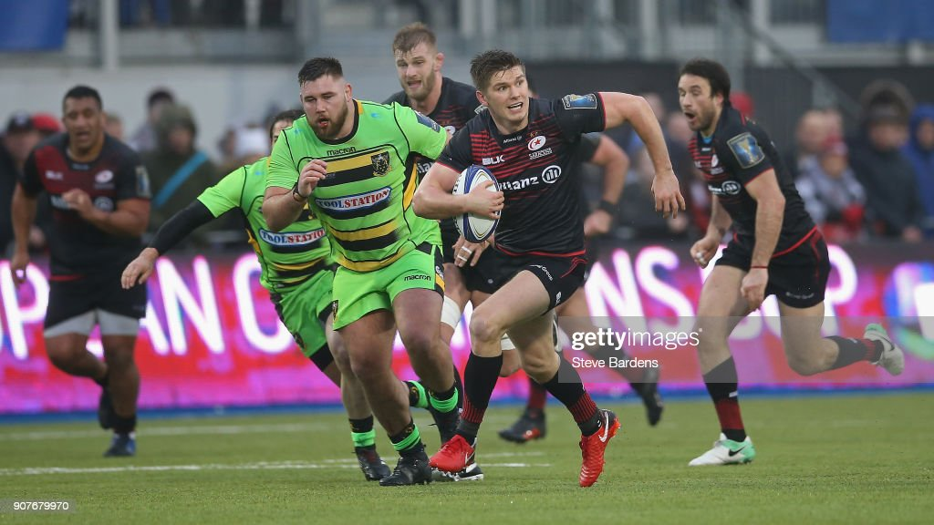 Owen Farrell of Saracens in action during the European Rugby Champions Cup match between Saracens and Northampton Saints at Allianz Park on January 20, 2018 in Barnet, England.