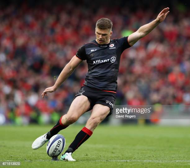 Owen Farrell of Saracens kicks a penalty during the European Rugby Champions Cup semi final match between Munster and Saracens at the Aviva Stadium...