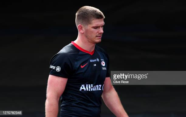 Owen Farrell of Saracens leaves the field of play after being sent off during the Gallagher Premiership Rugby match between Saracens and Wasps at on...