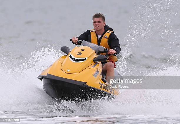 Owen Farrell of the British and Irish Lions takes part in jetskiing in Noosa on July 1 2013 in Noosa Australia