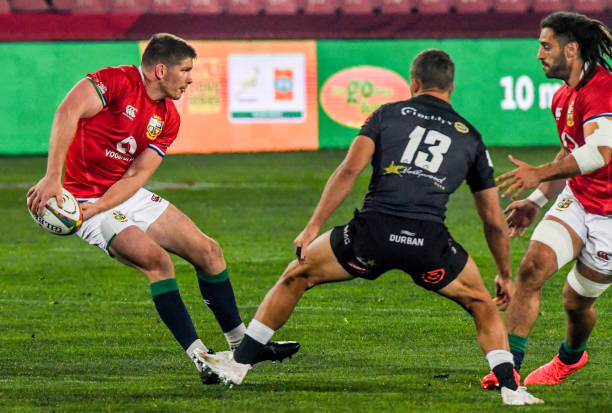 JOHANNESBURG, SOUTH AFRICA - JULY 07: Owen Farrell of the British and Irish Lions with possession during the Tour match between Cell C Sharks and British and Irish Lions at Emirates Airline Park on July 7, 2021 in Johannesburg, South Africa. (Photo by Sydney Seshibedi/Gallo Images/Getty Images)