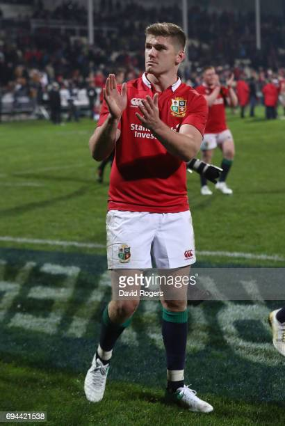 Owen Farrell of the Lions applauds the fans following their team's 123 victory during the 2017 British Irish Lions tour match between the Crusaders...