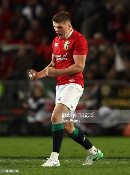 Owen Farrell of the Lions celebrates after kicking a long range penalty to level the scores at 1515 during the third test match between the New...