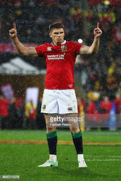 Owen Farrell of the Lions celebrates after winning the International Test match between the New Zealand All Blacks and the British & Irish Lions at...