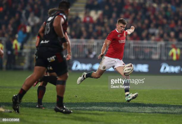 Owen Farrell of the Lions clears the ball to touch to win the match during the match between the Crusaders and the British Irish Lions at AMI Stadium...