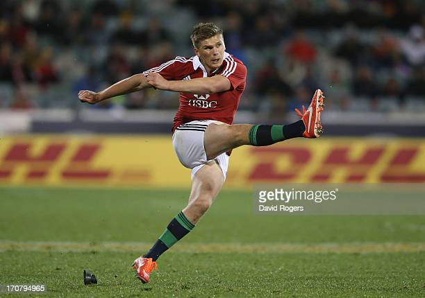 Owen Farrell of the Lions kicks a penalty during the International tour match between the ACT Brumbies and the British Irish Lions at Canberra...