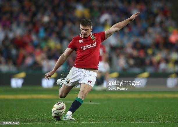 Owen Farrell of the Lions kicks a penalty during the match between the New Zealand All Blacks and the British Irish Lions at Westpac Stadium on July...