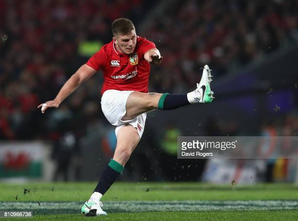 Owen Farrell of the Lions kicks a penalty during the Test match between the New Zealand All Blacks and the British Irish Lions at Eden Park on July 8...