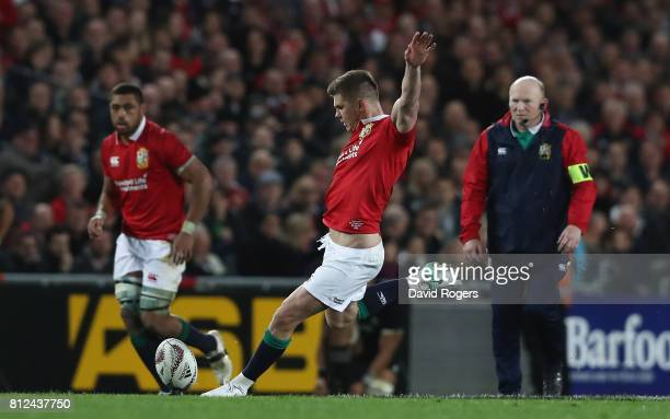 Owen Farrell of the Lions kicks a penalty to level the scores at 1515 during the Test match between the New Zealand All Blacks and the British Irish...