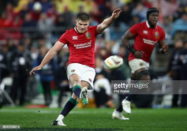 Owen Farrell of the Lions kicks a penalty to put the Lions infront during the International Test match between the New Zealand All Blacks and the...