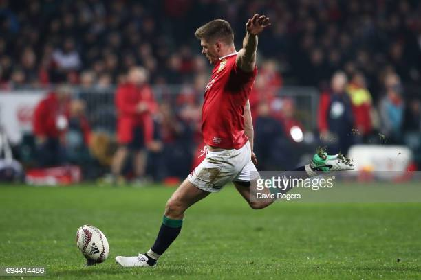 Owen Farrell of the Lions kicks his team'sfourth penalty during the 2017 British Irish Lions tour match between the Crusaders and the British Irish...