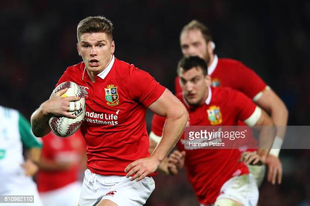 Owen Farrell of the Lions makes a break during the Test match between the New Zealand All Blacks and the British Irish Lions at Eden Park on July 8...
