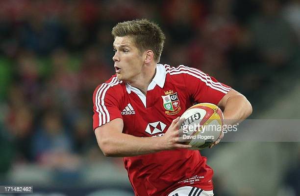 Owen Farrell of the Lions runs with the ball during the International Tour Match between the Melbourne Rebels and the British Irish Lions at AAMI...