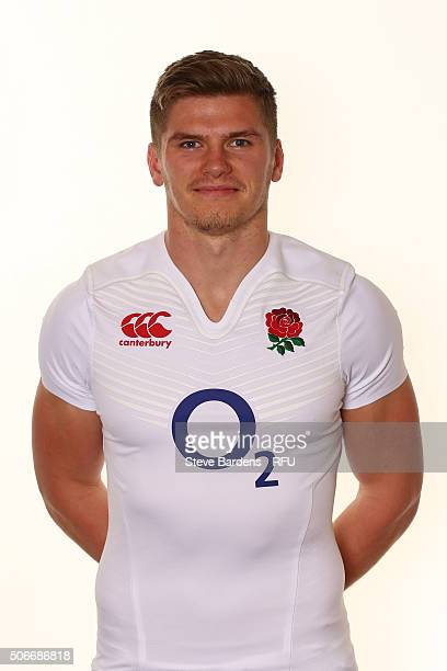 Owen Farrell poses during the England EPS Six Nations Squad Portrait session at Pennyhill Park on January 25 2016 in Bagshot England