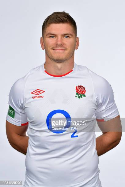 Owen Farrell poses for a portrait during the England Squad Photo call at The Lensbury on October 19, 2020 in Teddington, England.