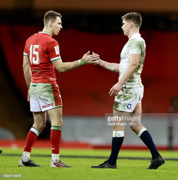 Owen Farrell the England captain, congratulates Liam Williams of Wales after their victory during the Guinness Six Nations match between Wales and...