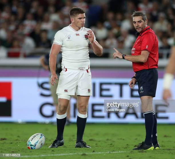 Owen Farrell, the England captain remonstrates with the referee Jerome Garces, during the Rugby World Cup 2019 Final between England and South Africa...