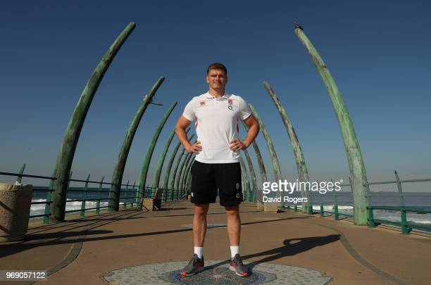 Owen Farrell who will captain England in the first test against South Africa on Saturday poses during the England media session on June 7 2018 in...