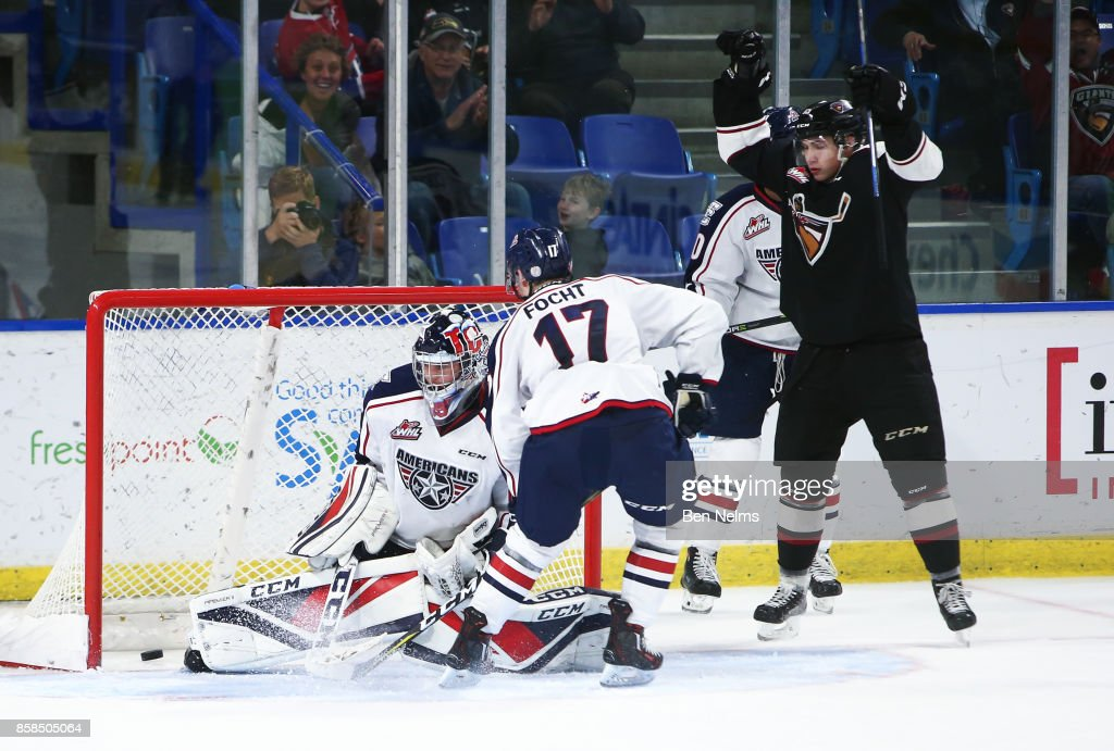 Owen Hardy #15 of the Vancouver Giants celebrates his goal against goaltender Beck Warm #35 of the Tri-City Americans during the third period of their WHL game at the Langley Events Centre on October 6, 2017 in Langley, British Columbia, Canada.