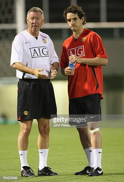 Owen Hargreaves and Sir Alex Ferguson of Manchester United in action during a First Team training session at the start of their Far East Tour at...