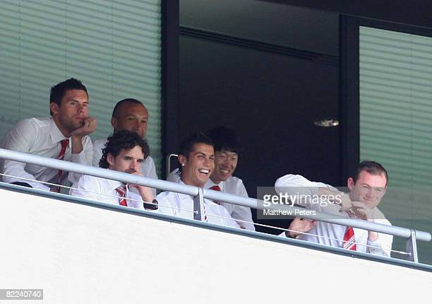 Owen Hargreaves Cristiano Ronaldo and Wayne Rooney of Manchester United watch from the stand during the FA Community Shield match between Manchester...