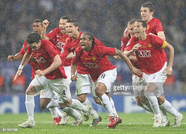 Owen Hargreaves Cristiano Ronaldo Anderson and Rio Ferdinand celebrate after the penalty shoot out winning the UEFA Champions League Final match...