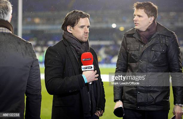 Owen Hargreaves holds the BT Sport microphone before the Barclays Premier League match between Tottenham Hotspur and Manchester City at White Hart...