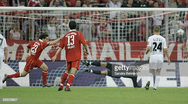 Owen Hargreaves of Bayern scores the first goal during the Bundesliga match between Bayern Munich and Borussia Monchengladbach at the Allianz Arena...