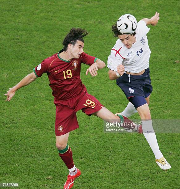 Owen Hargreaves of England beats Tiago of Portugal to the ball during the FIFA World Cup Germany 2006 Quarterfinal match between England and Portugal...