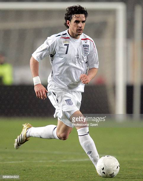 Owen Hargreaves of England in action during the Euro 2008 Qualifying Match between Andorra and England at the Olympic Stadium on March 28 2007 in...