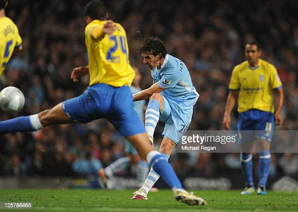 Owen Hargreaves of Manchester City scores to make it 10 during the Carling Cup Third Round match between Manchester City and Birmingham City at the...