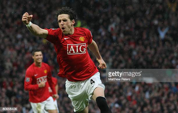 Owen Hargreaves of Manchester United celebrates scoring their second goal during the Barclays FA Premier League match between Manchester United and...