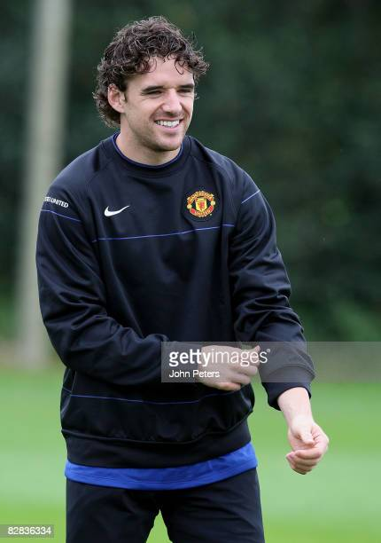Owen Hargreaves of Manchester United in action during a First Team Training Session at Carrington Training Ground on September 16 2008 in Manchester...
