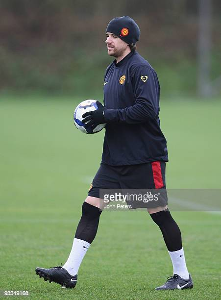 Owen Hargreaves of Manchester United in action during a First Team Training Session at Carrington Training Ground on November 24 2009 in Manchester...