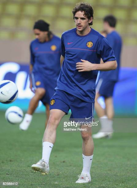Owen Hargreaves of Manchester United in action during a training session ahead of the UEFA Supercup match between Manchester United and Zenit St...