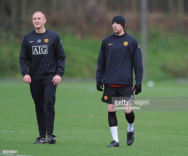 Owen Hargreaves of Manchester United undergoes a fitness test during training at the Carrington Training Centre on November 24 2009 in Manchester...