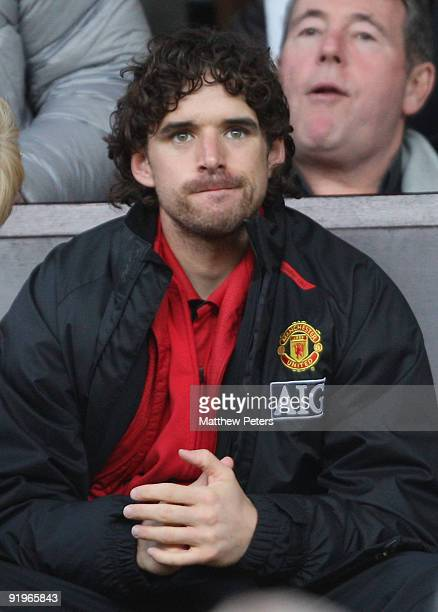 Owen Hargreaves of Manchester United watches from the directors' box during the Barclays Premier League match between Manchester United and Bolton...