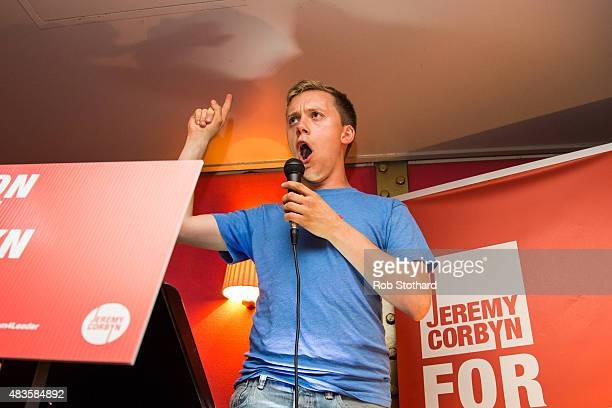 Owen Jones political activist and author announces policy ideas for young people at a rally in support of Jeremy Corbyn's campaign for the Labour...