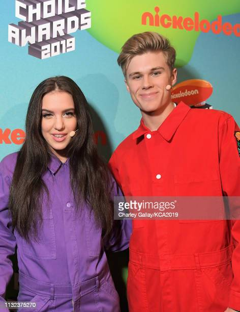 Owen Joyner and Lilimar attend Nickelodeon's 2019 Kids' Choice Awards at Galen Center on March 23 2019 in Los Angeles California